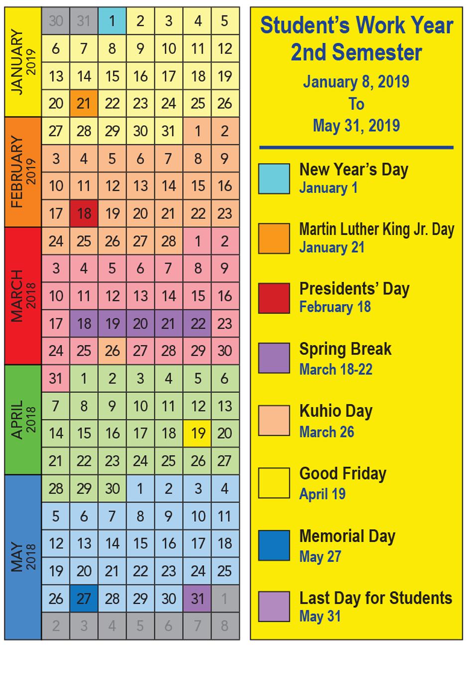 2018 2019 School Calendar Kauai Family Magazine